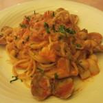 文流 - 海の幸とキノコのスパゲティ  トマトクリーム
