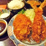 田中屋豚肉店 - ヒレカツ&海老フライランチ1200円