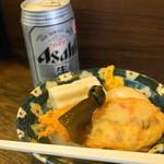 丸健水産 - おでんセット(700円)酒は日本酒、ビール、チューハイから選べます