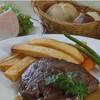 バイエルン - 料理写真:ヘルシー!ジューシー!な「あか牛」ステーキのセットは、ライスorパン、サラダ、スープが付いて2800円。