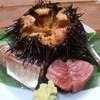 吉泉 - 料理写真:ムラサキウニ、鮪(脳天)、鯵のお造り