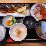とらさんキッチン - ランチの焼き魚定食+オプションのお刺身