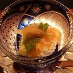 日々茶寮 連 - ディナー(キリコの器にはも・とうがん・おくら・みょうが・なす)