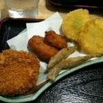 ちらん亭 - ちらんセットのヒレカツ・さつま揚げ・キビナゴ天ぷら・芋天
