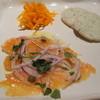 グリップ - 料理写真:ランチコース(2800円)の前菜、サーモンのマリネ、舌平目と帆立のインボルティーニ