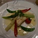 コートヤード・マリオット銀座東武ホテル - 平目の柚庵焼き風カリフラワー包み 香草の入ったソース