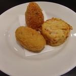 ピッツェリア マリータ - 揚げ物3種(ライスコロッケ、じゃがいもコロッケ、パスタのコロッケ)