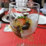 サンマルク - 茄子のコンフィとサーモンの取り合わせ 海苔風味のジュレ