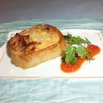 ふらのラテール - 鶏と玉葱の長芋グラタントマトソース添え