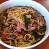 パスタ - 料理写真:スープスパゲッティのベーコン  トッピングはバジル