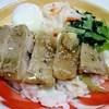 築地マルシェ - 料理写真:鶏肉のソテー温泉卵添え  夕方でしたので割引で200円でした (^^;;
