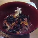 やさい家めい バサン - 大豆の残ったお鍋の汁はアクをとって雑炊でいただきました。