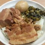秀味園 - 800えん 魯肉飯セット(魯肉飯・スープ・杏仁豆腐)2012.11
