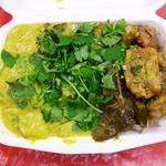 アジアンランチ - ゴロゴロ鶏の黒胡椒炒め&チキン・サツマイモのカレー。