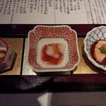 15874515 - 左から穴子のしぐれ煮・筋子・アン肝