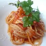 QUATRE SAISONS - 白舞茸とパンチェッタのトマトソースパスタ 香草とパルミジャーノの薫り