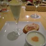 フェリチタ - ★アボカドソースレモンジュレのせ ★枝豆とじゃがいもの冷製スープ ★生ハムのブルスケッタ
