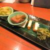 うまいもの 楽味 - 料理写真:季節野菜の盛合わせ (焼き茄子と茗荷のおしたし、いちじく 含め煮、干し柿とクリームチーズ、唐辛子みそ)