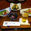 七福 - 料理写真:手前の,かきのもとのおひたしは美味しかった