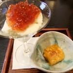 日々茶寮 連 - デザート(柿の寒天寄せ・りんごのムース)