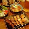 ふくろう - 料理写真:セットメニュー、串焼き5本、モツ煮、サラダ、ドリンク
