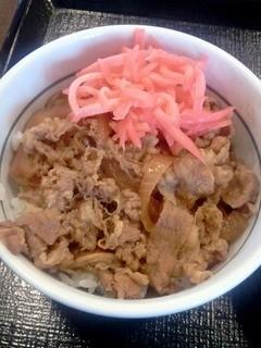 なか卯 - ミニ和風牛丼(ショウガあり)