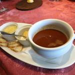 キノシタ - 新鮮なアジと甘海老の温かいスープ・ド・ポワソン