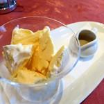 キノシタ - マスカルポーネチーズのパルフェ ペルノーとエスプレッソがけ