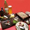 蔵や - 料理写真:夕暮れセット:1,800円(17時〜19時まで)・おつまみ五品+十割そば+焼酎のそば湯割り又は日本酒又は生ビール付き