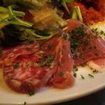 ビストロ・ソングラム - 前菜盛合せ:トリュフ香るポルチーニ入りポテサラ、根菜のラタトゥイユ、白カビのサラミ、白レバーのムース4