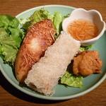 16651881 - ココナッツ風味の海老トースト、網状の揚げ春巻、鶏肉の唐揚げ