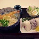 めん処 喜多野 - 海老ぶっかけうどんセット(うどん大盛り)750円+100円