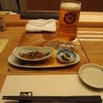 美喜鮨 - 料理写真:付き出し & 生ビール