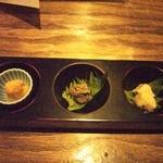 16903780 - 三種盛り(生からすみ、天然鮎のパテ、豆腐の味噌漬け)