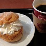 シアトルズ ベストコーヒー - さくさくシュークリーム+アメリカーノ(エスプレッソのお湯割り)=480円