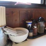 はりけんラーメン - 卓上の調味料