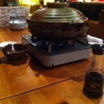 TEN - 生姜たっぷり豚バラ入り鍋。