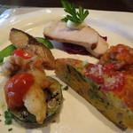 パートリア - 前菜6種盛り 塩麹に漬けた豚ロースト、鯖スモーク、フリッタータ,、白子のフリット他