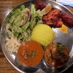 デリーキッチン シャンティ - ランチタリ(左からマトン、ナス)