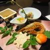 荒磯亭 - 料理写真:前菜: 五福豆・がさ海老甘辛煮・雪輪蓮根・牡蠣有馬煮      サーモン百合根寿司・甘エビこのわた掛け