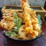 天丼の岩松 - 大海老丼、正面から