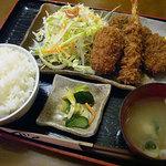 まるいち亭 - 料理写真:夜のおすすめメニュー、ひれかつ小・エビフライ・エビクリームコロッケ・ご飯・みそ汁で 1350円