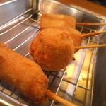 大阪串揚 一 - 手前から 豚ロース・しゅまい・かぼちゃ・じゃがいも