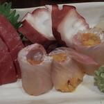 鮨とおつまみ 百万遍 つむぎ - 鮨とおつまみ 百万遍 つむぎの造り盛り合せアップ(12.04)