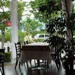 かわら亭 - 店内から諏訪湖を望む