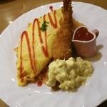 洋食の家 キャベツ - エビフライのったオムライス(*^^*)♪ いただきまーす!