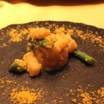 麻布長江 香福筳 - 帆立とアスパラガスの炒め つぼみ菜と長芋とシェンタンソース添え