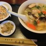 中国料理 水晶楼 - 海老つゆそば 半チャーハン¥900