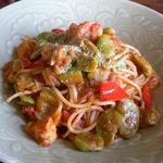 シェスタ - そら豆と海老のパスタ