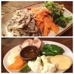 健康焼肉 亀 - 何れも有機野菜のゴマ和えとオリーブオイルを塗ってから焼く焼き野菜 ♪ 因みにご飯も有機米でメチャ美味いのだ♡